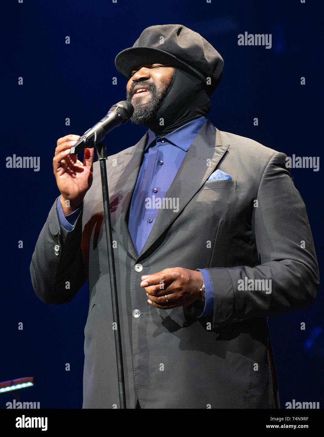 Frankfurt am Main, Germany - April 6th 2019: Gregory Porter (*1971, American jazz vocalist, songwriter, and actor) at Festhalle Frankfurt Stock Photo