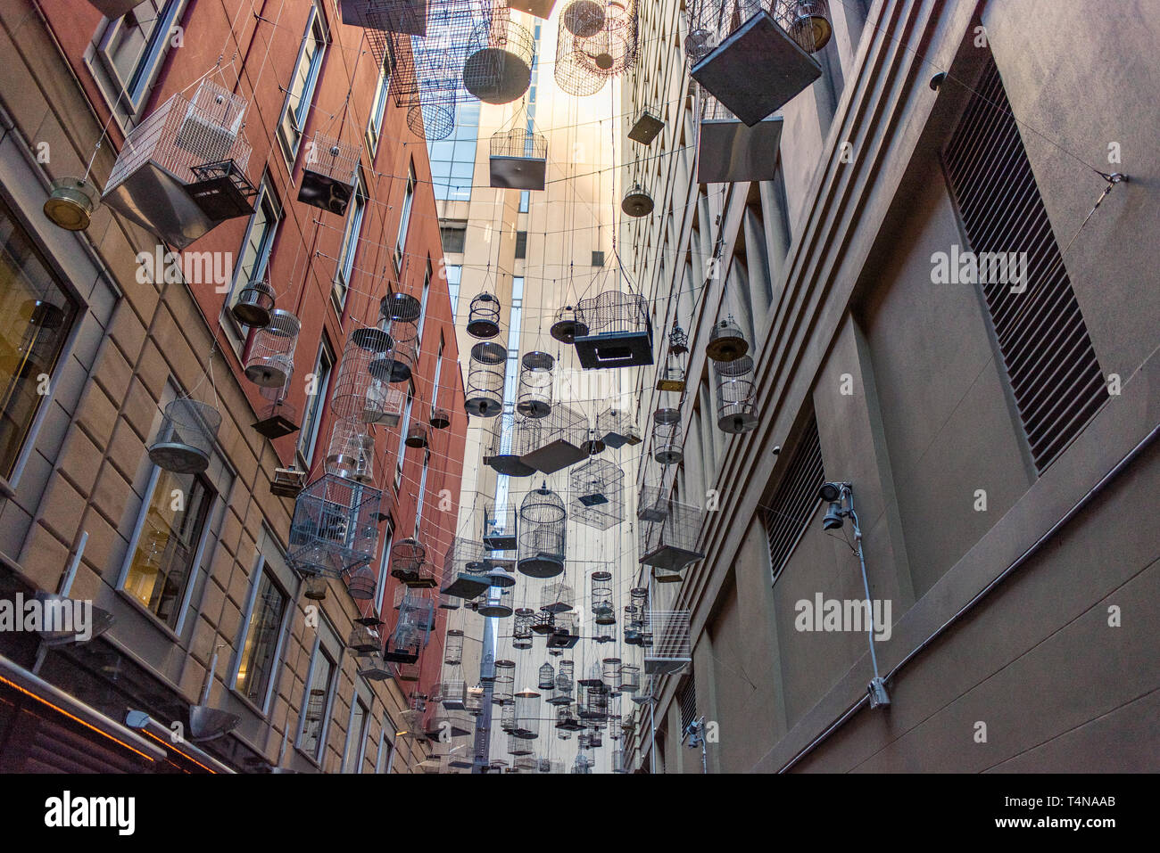 Sydney, New South Wales / Australia - May 13 2016: 'Forgotten Songs' art installation of empty bird cages - Stock Image