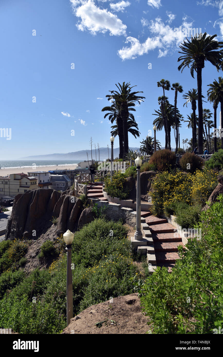 Steps leading from Palisades Park in Santa Monica California to the Pacific Coast Highway below.  Exclusive. - Stock Image
