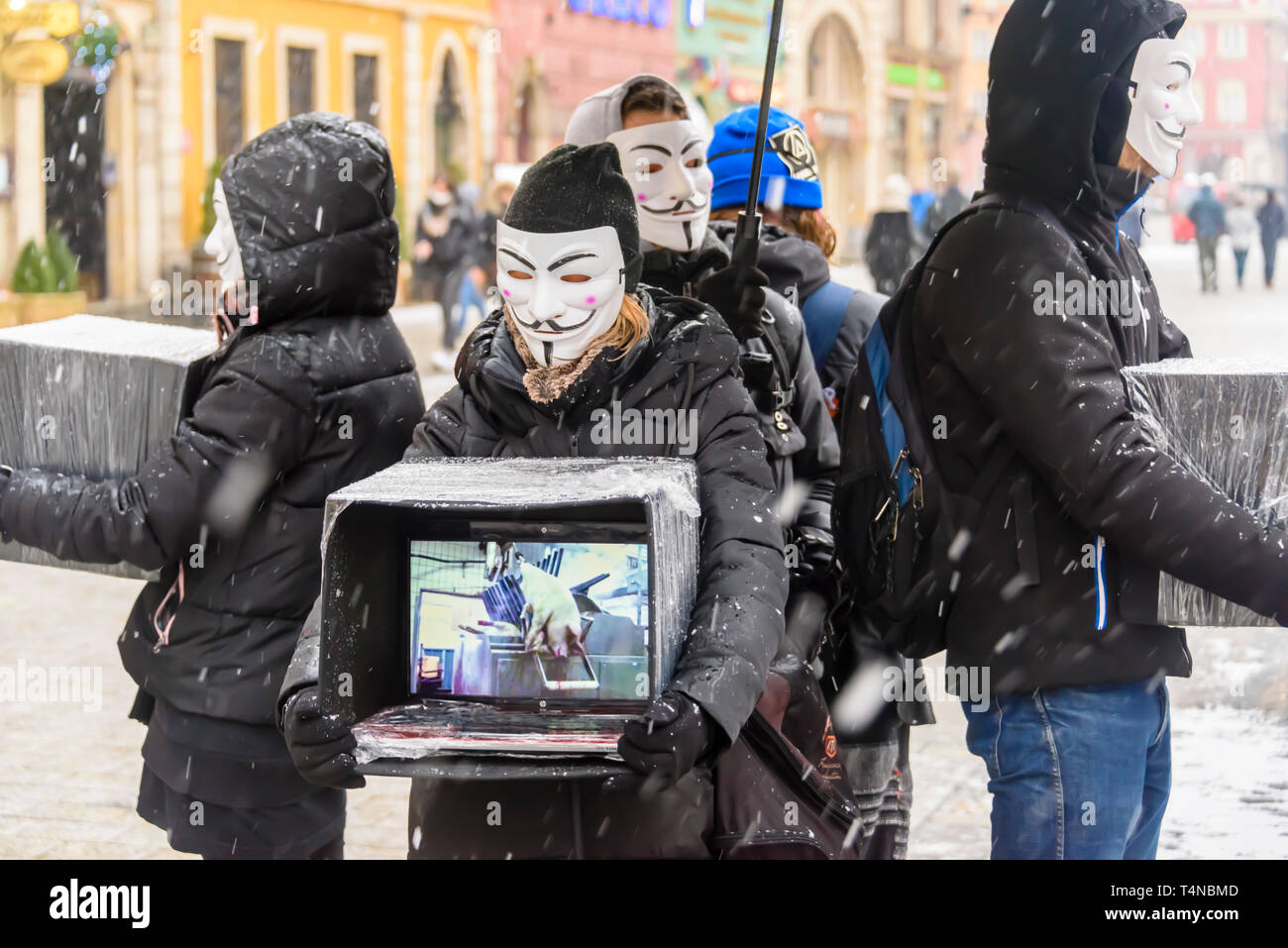 Vegan activists display videos of animals getting slaughtered, Wrocław, Wroclaw, Wroklaw, Poland - Stock Image