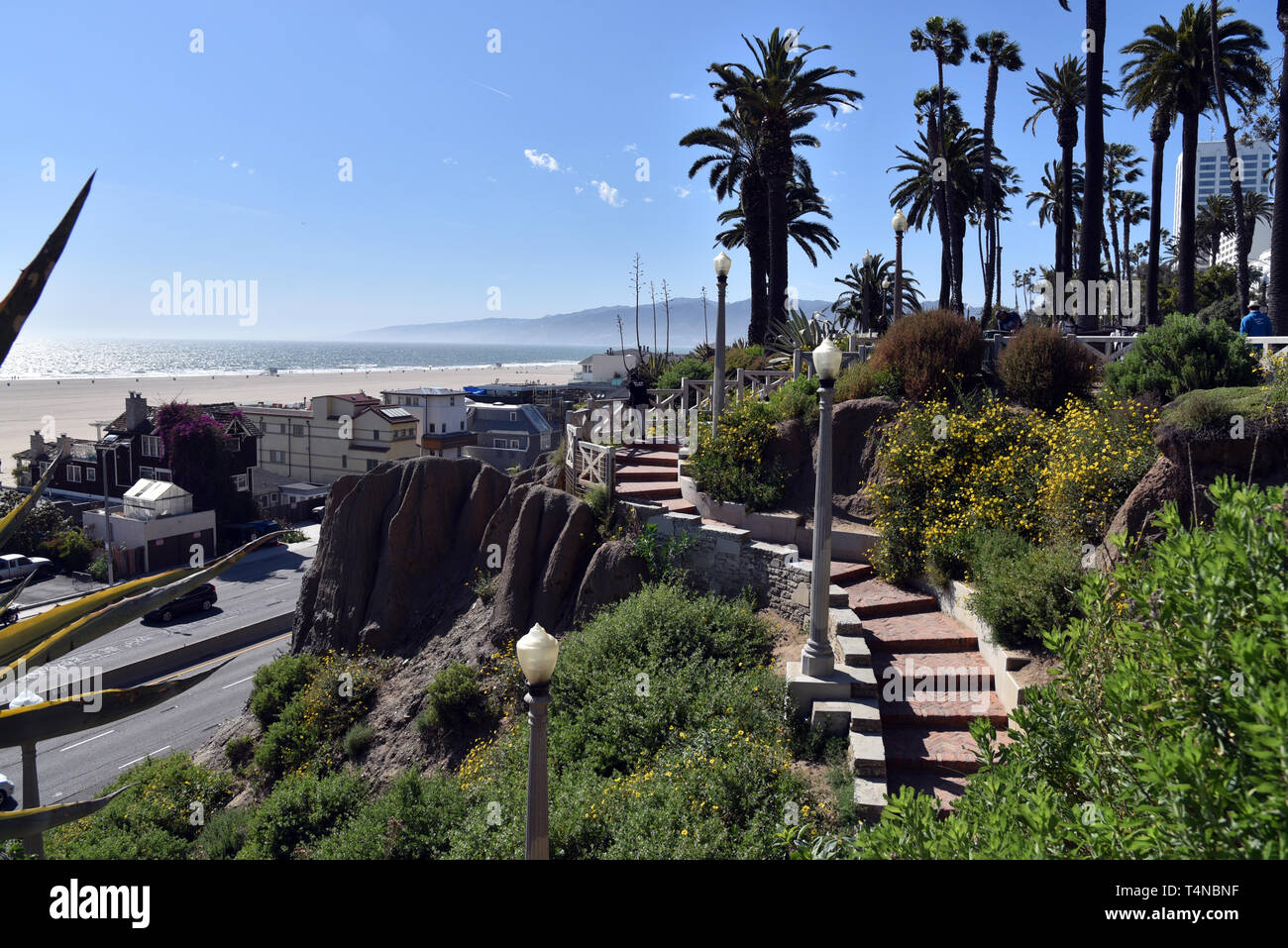Steps leading down from Palisades Park in Santa Monica California to the Pacific Coast Highway.  Exclusive - Stock Image