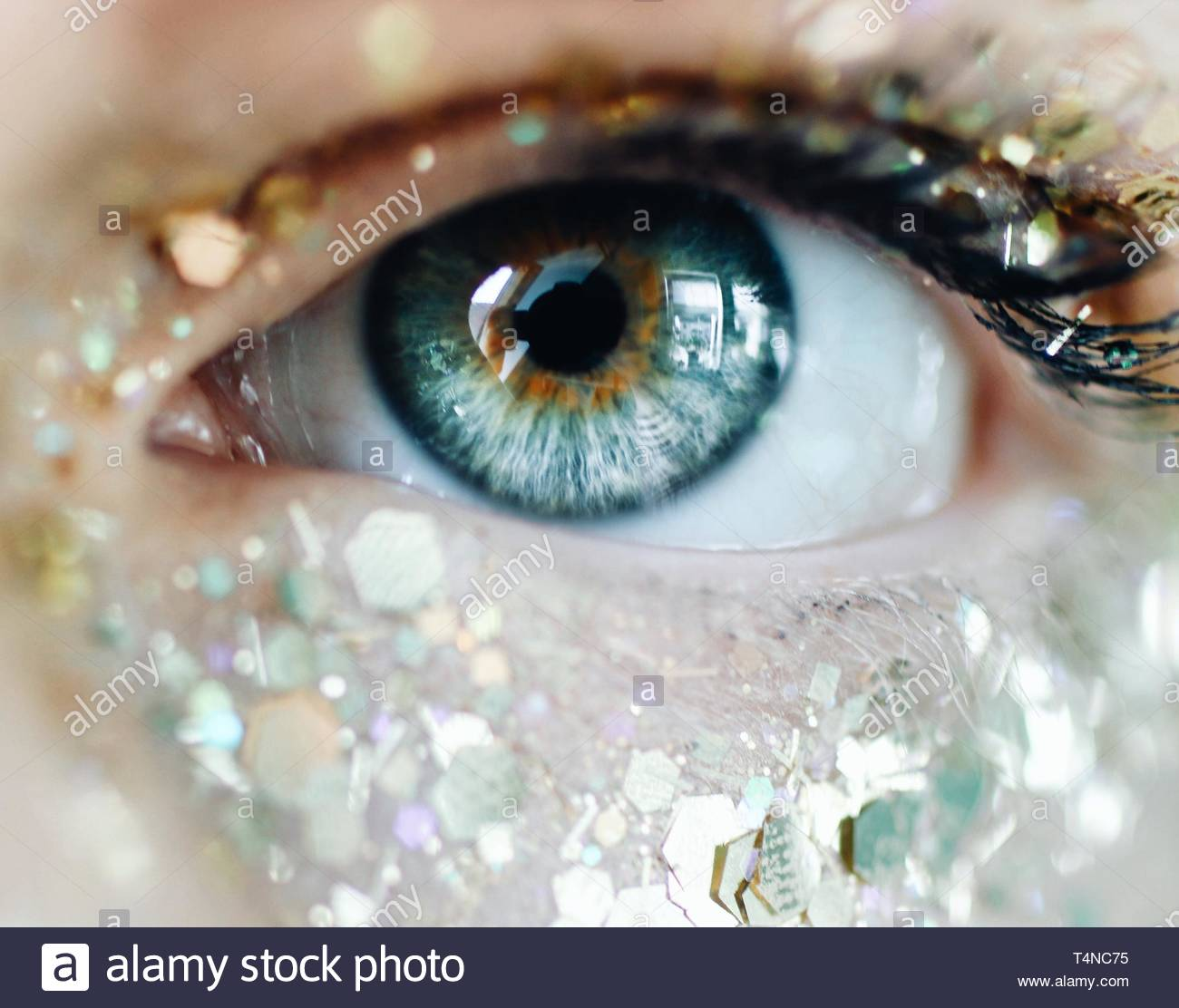close-up photography of human eye with glitters Stock Photo