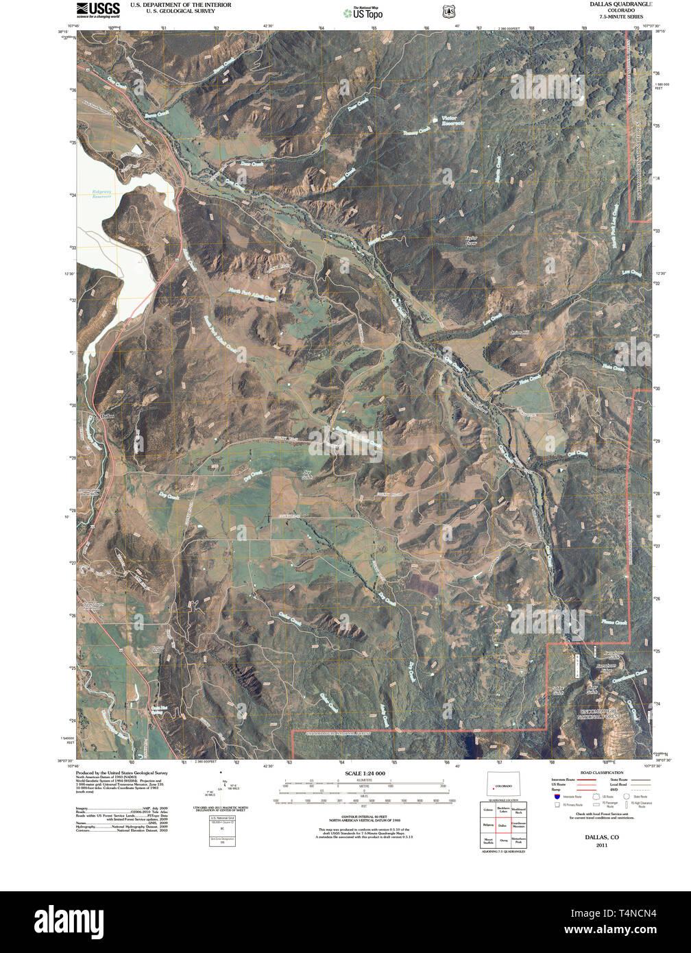 USGS TOPO Map Colorado CO Dallas 20110520 TM Restoration
