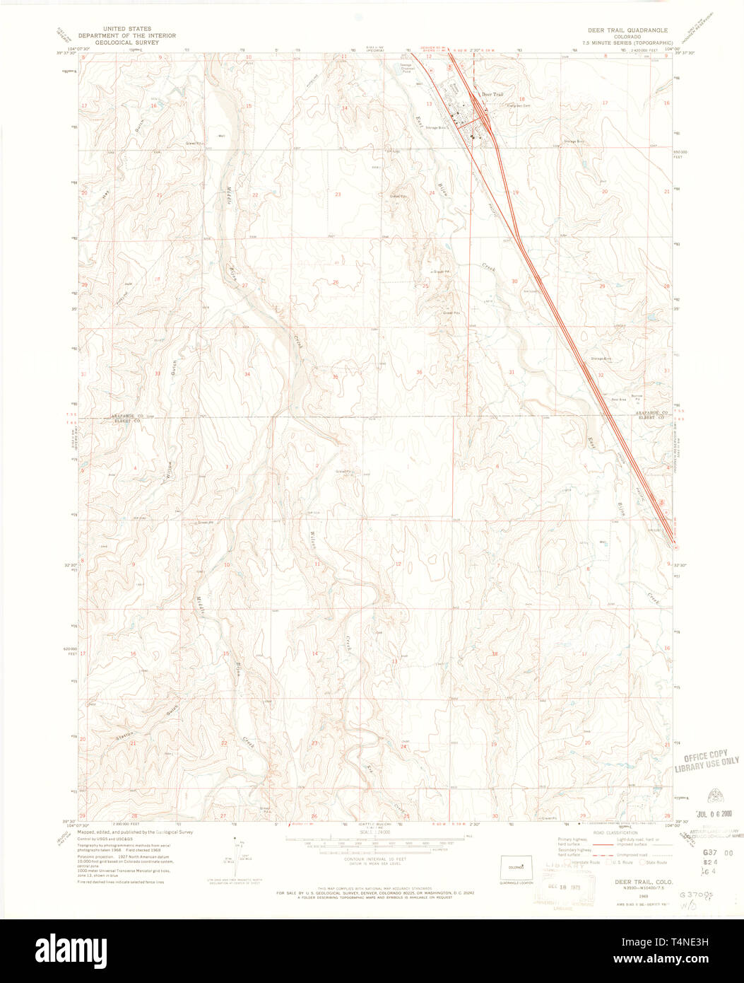 USGS TOPO Map Colorado CO Deer Trail 400612 1969 24000 Restoration