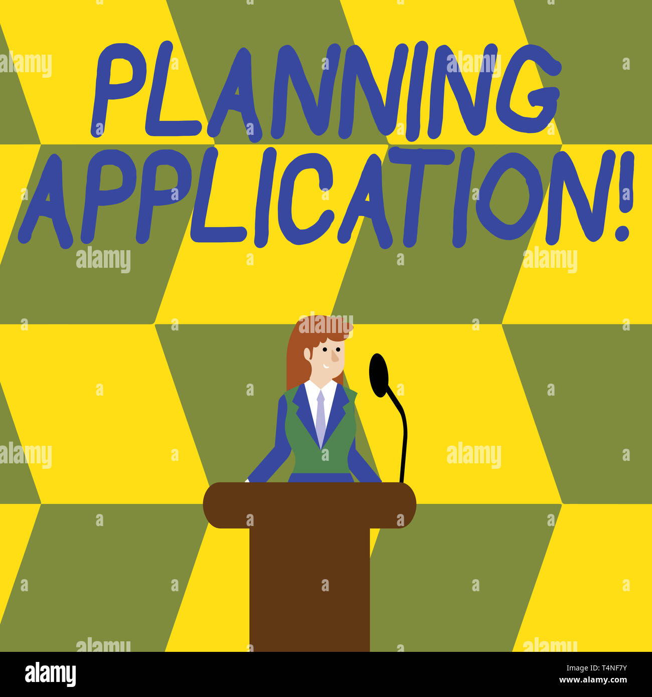 Writing note showing Planning Application. Business concept for request to a local authority for permission to build Businesswoman Behind Podium Rostr - Stock Image