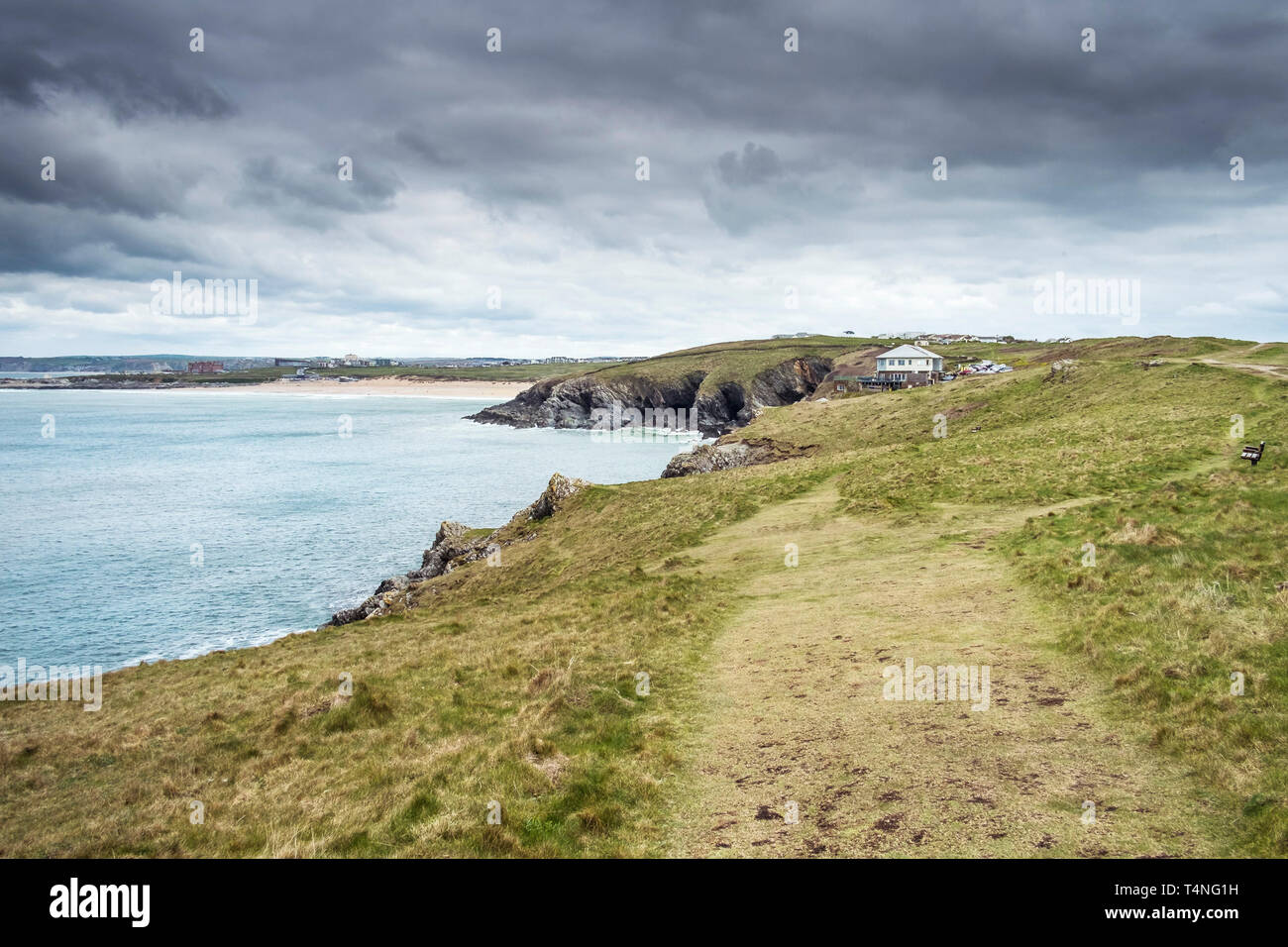 Walking trails on Pentire Point East in Newquay in Cornwall. - Stock Image