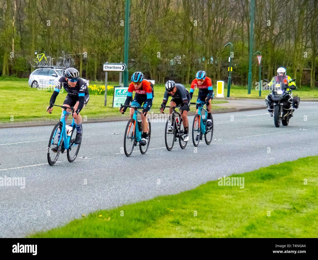 Riders in the Cleveland Klondike Grad Prix cycle race for professional riders on 14 April 2019 in Charletons near the finish at Guisborough Yorkshire Stock Photo
