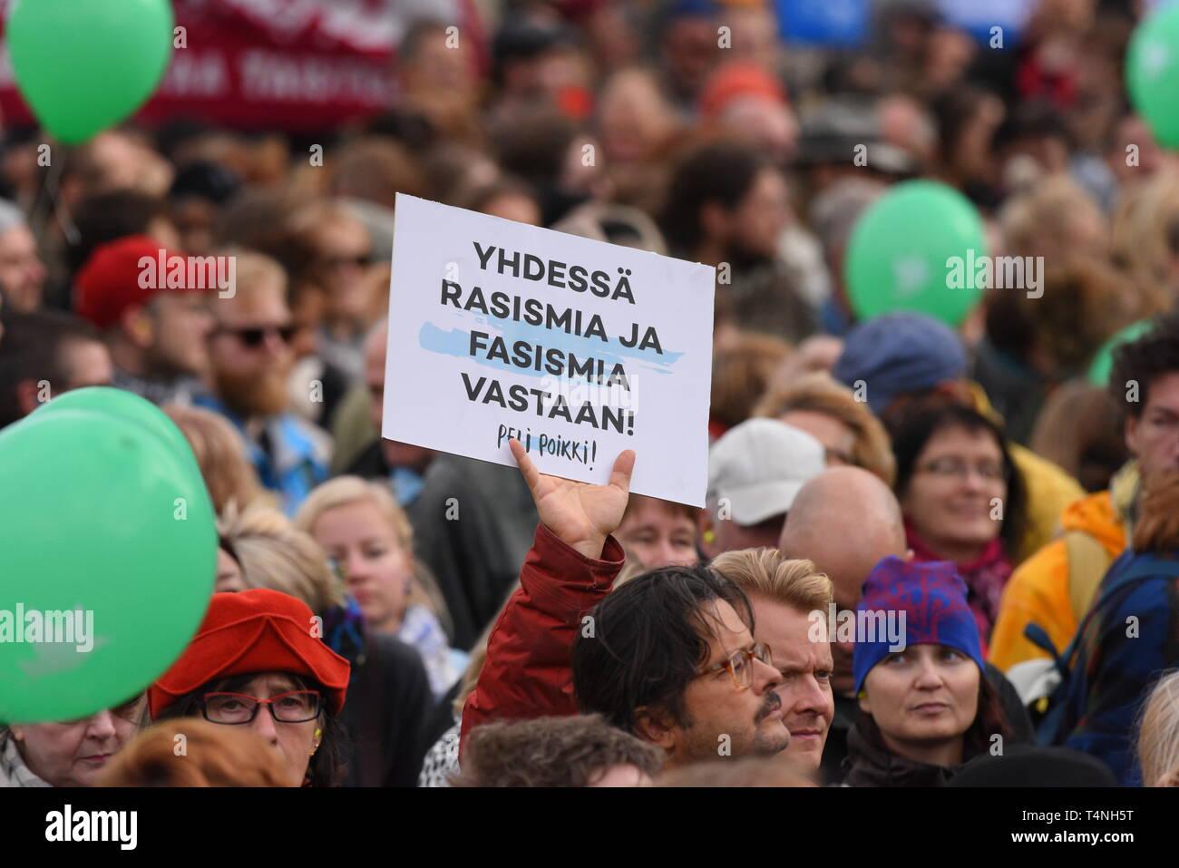 Helsinki, Finland - September 24, 2016: Peli poikki - Rikotaan hiljaisuus - protest rally against racism and right wing extremist violence in Helsinki Stock Photo