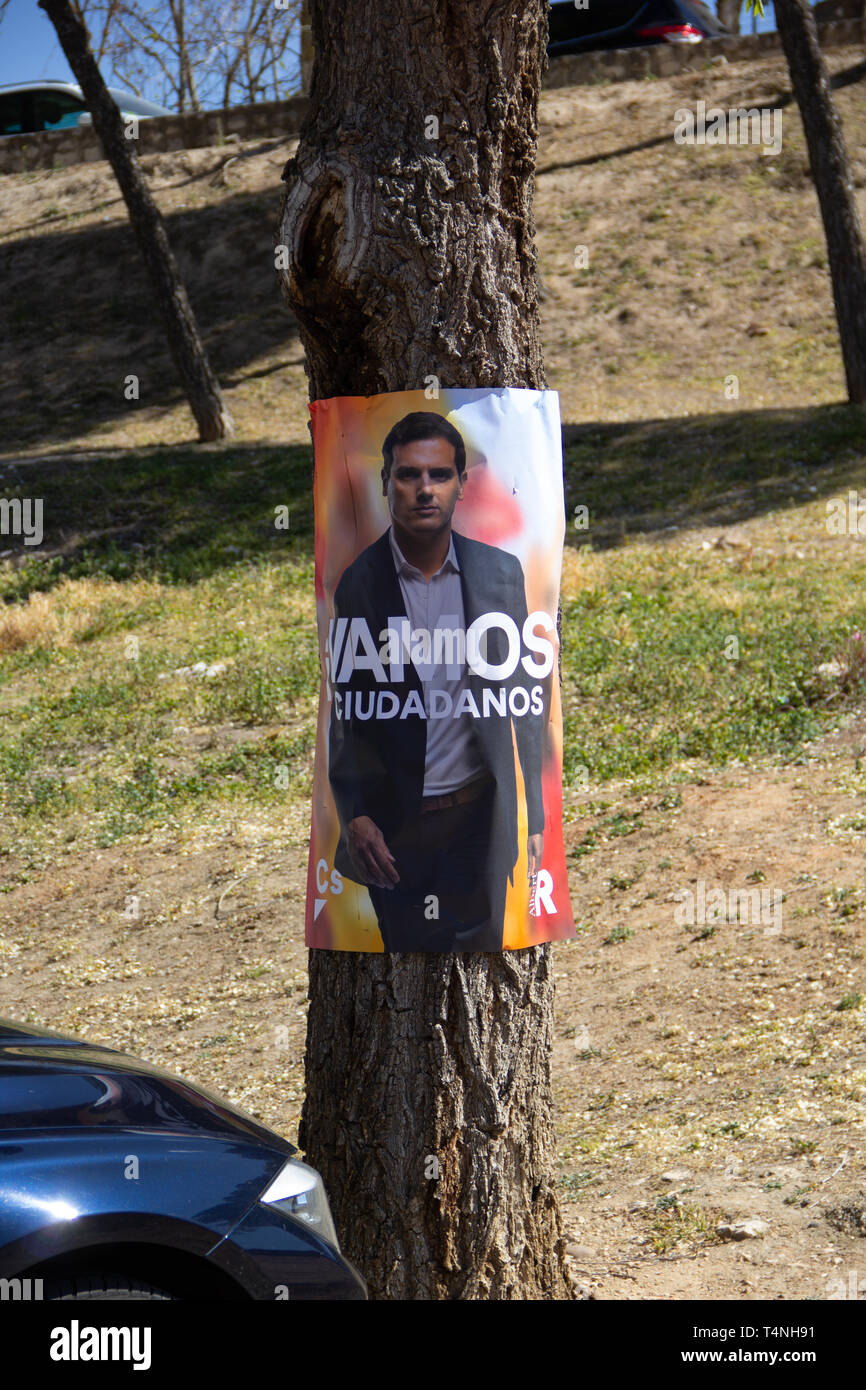 Chinchon, Spain - 04 14 2019: Political campaign poster of the ciudadanos party lead candidate, Albert Rivera, for the general elections on April 28 - Stock Image