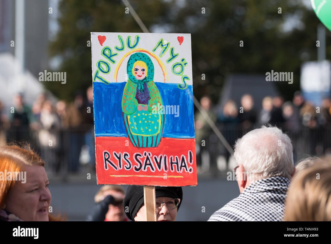 Helsinki, Finland - September 24, 2016: Peli poikki - Rikotaan hiljaisuus - protest rally against racism and right wing extremist violence in Helsinki - Stock Image
