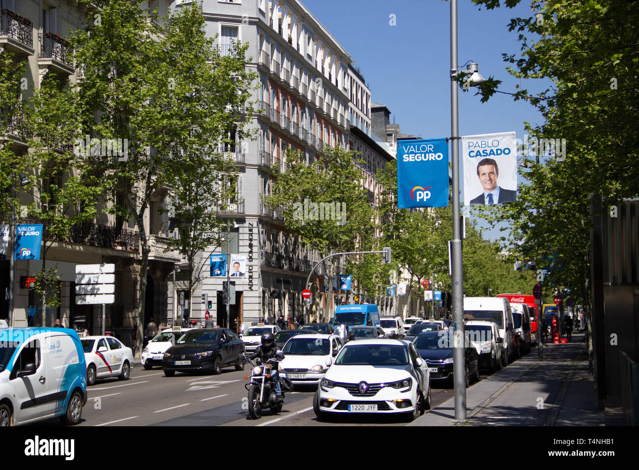 Madrid, Spain - 04 12 2019: Political campaign banners of the Partido Popular, showing their lead candidate for president  Pablo Casado Stock Photo