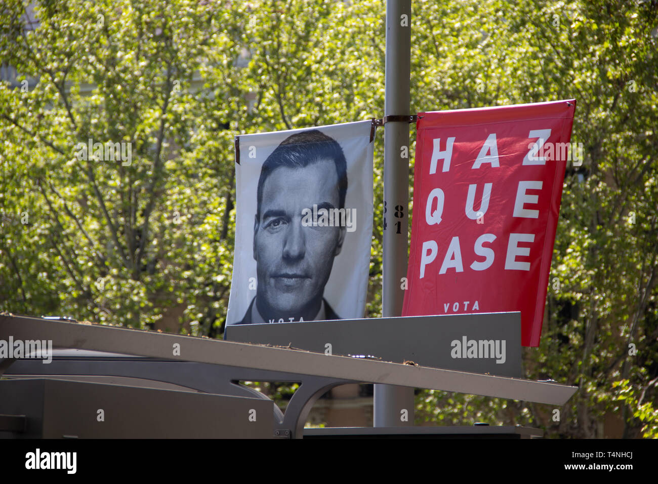 Madrid, Spain - 04 12 2019: Political campaign banners of the socialistic party PSOE, showing their lead candidate for president  Pedro Sanchez Stock Photo