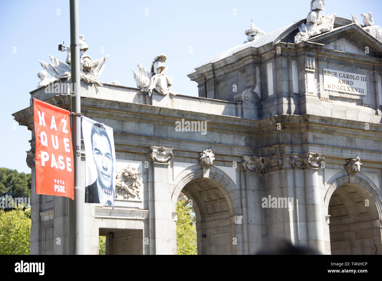 Madrid, Spain - 04 12 2019: Political campaign banners of the socialistic party PSOE, showing their lead candidate for president  Pedro Sanchez with m - Stock Image