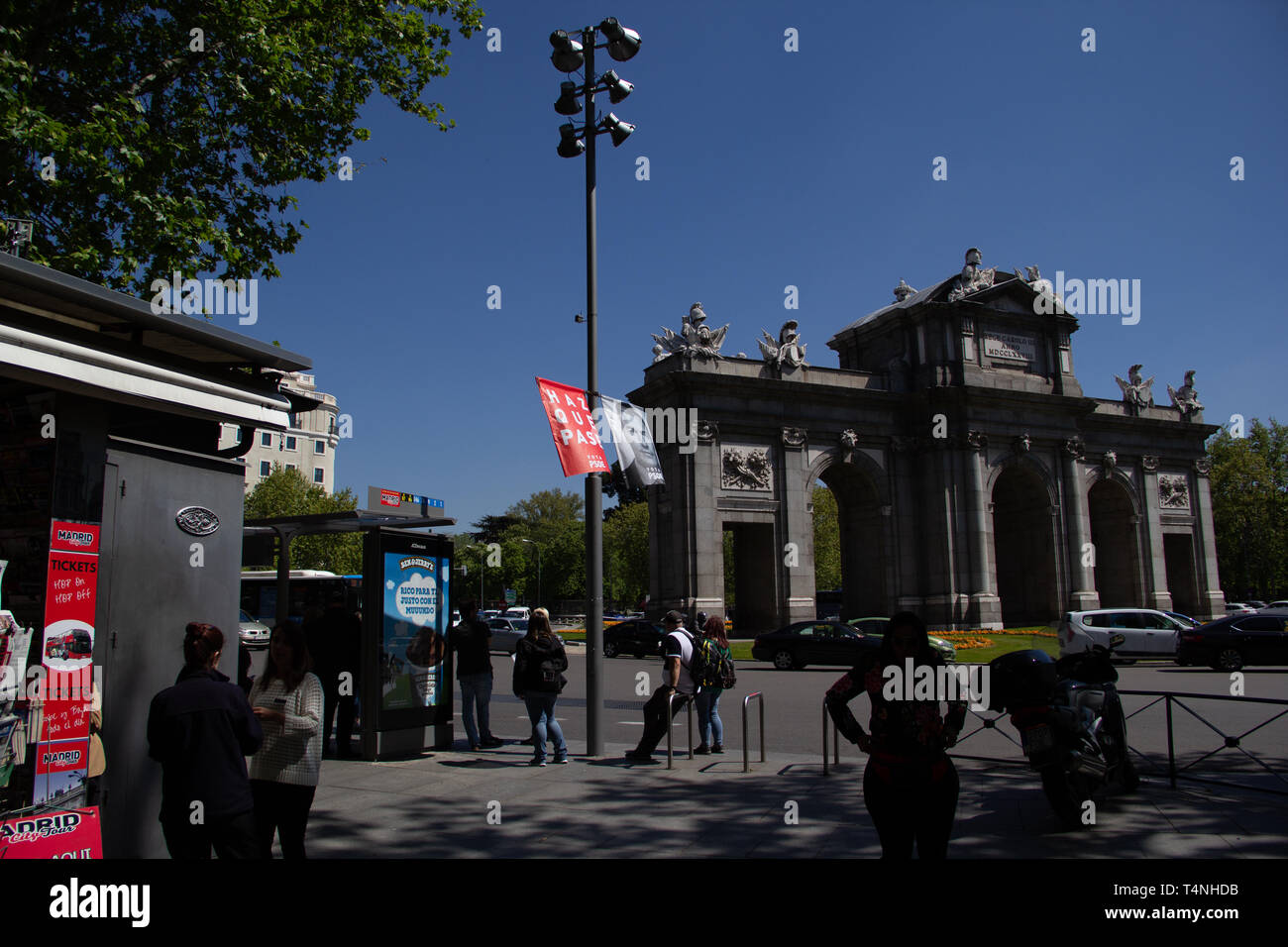Madrid, Spain - 04 12 2019: Political campaign banners of the socialistic party PSOE in the wind, showing their lead candidate for president  Pedro Sa - Stock Image