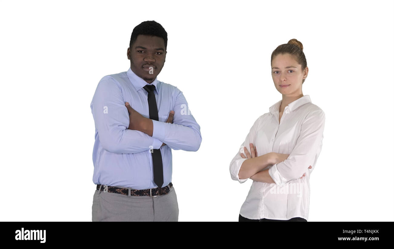 Medium shot. International business people standing with folded arms on white background. Professional shot in 4K resolution. 012. You can use it e.g. - Stock Image