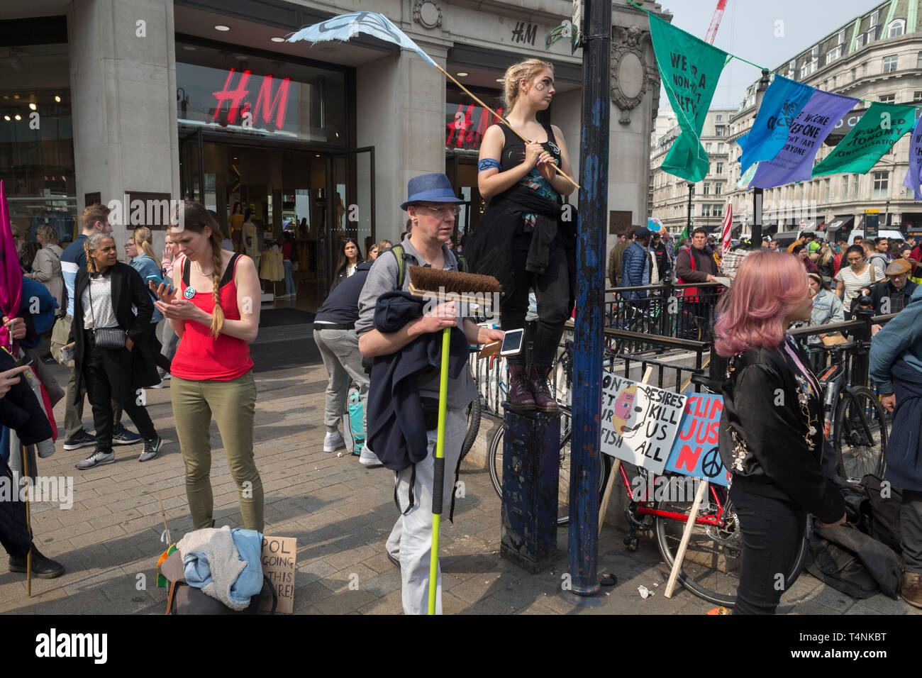 Activists with Extinction Rebellion protest about climate change in a blocked-off Oxford Circus, on 17th April 2019, in London, England. Stock Photo
