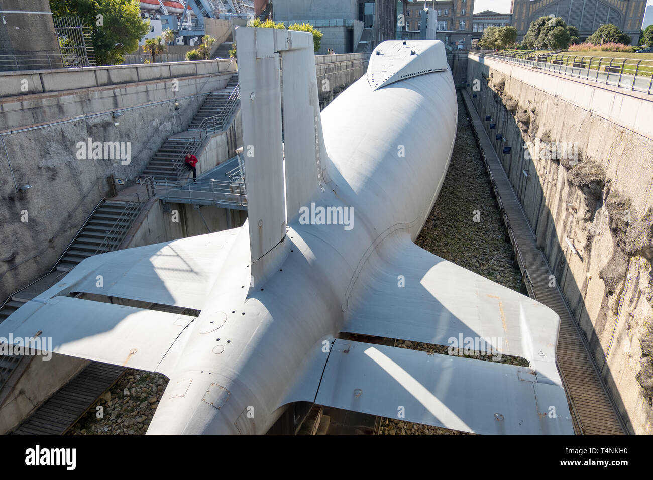 Cherbourg, France - September 01, 2018: Nuclear submarine Le Redoutable of French Navy in the City of the Sea , maritime museum of Cherbourg. France - Stock Image