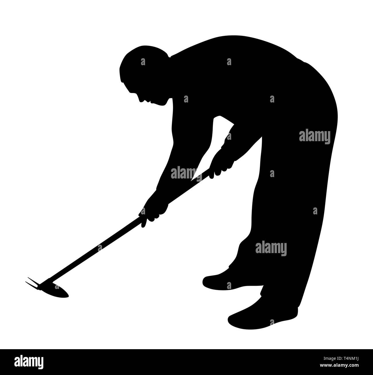 Man working in the garden with weeding hoe Stock Vector