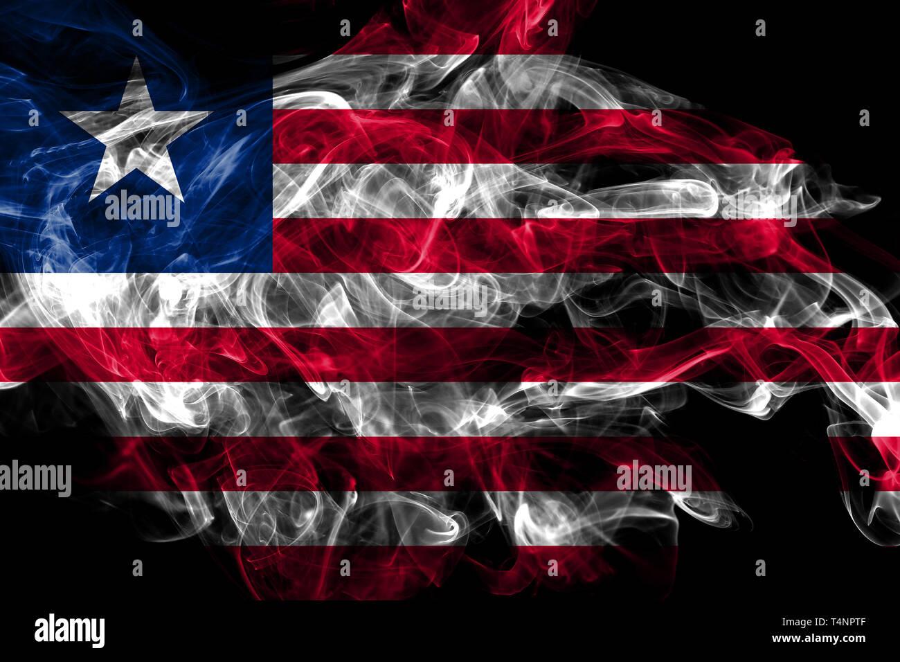 Liberia smoke flag isolated on black background - Stock Image