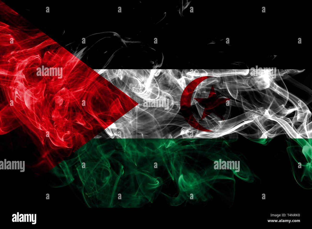 Sahrawi smoke flag isolated on black background - Stock Image