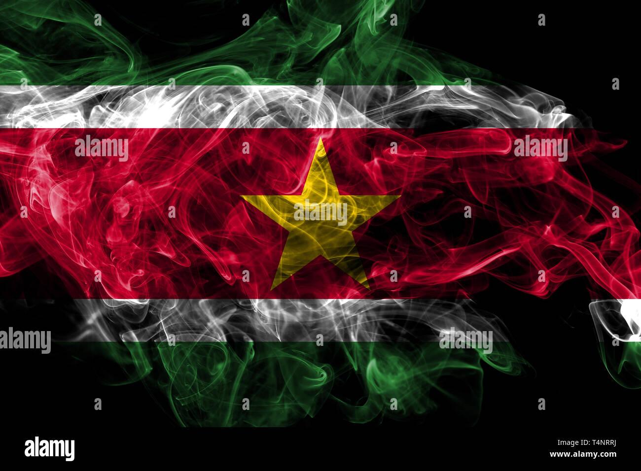 Suriname smoke flag isolated on black background - Stock Image