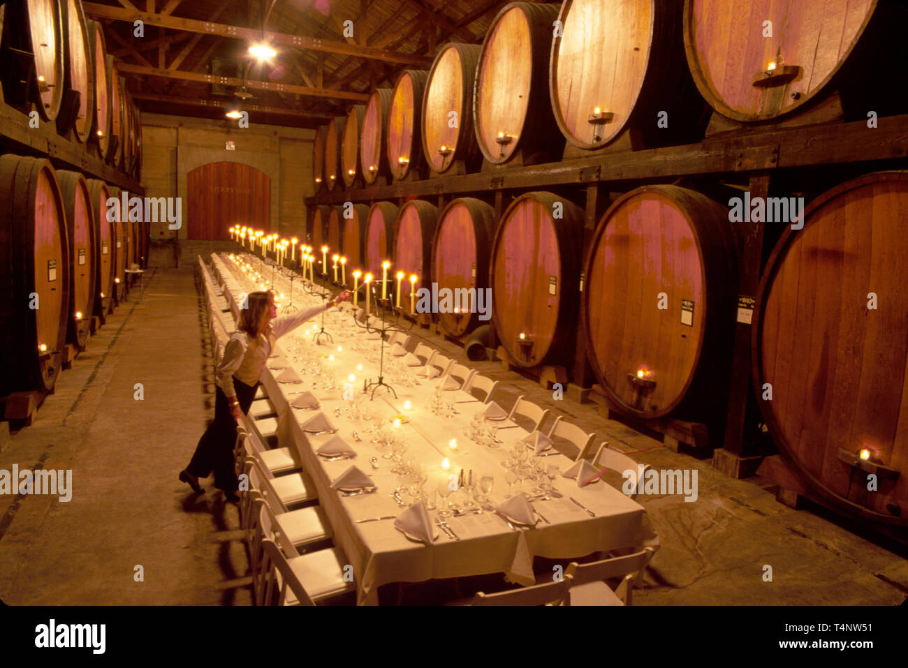 California Napa Valley St. Helena Maryvale Vineyards Cask Room candlelight banquet wine growing region - Stock Image