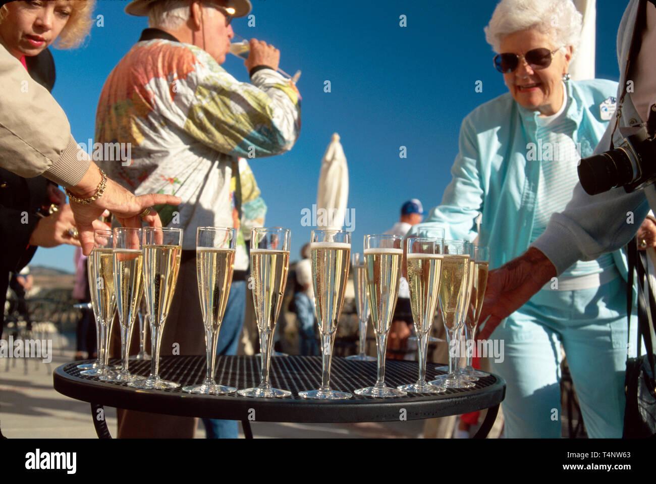 California Sonoma Domaine Carneros Vineyard Estate visitors sample sparkling wine - Stock Image
