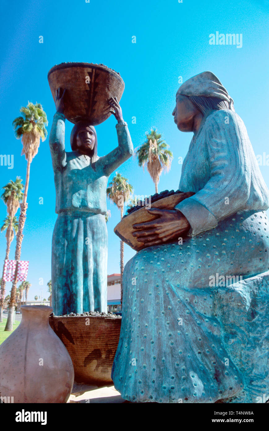 California Palm Springs Tahquitz Canyon Drive Agua Caliente Women statues - Stock Image