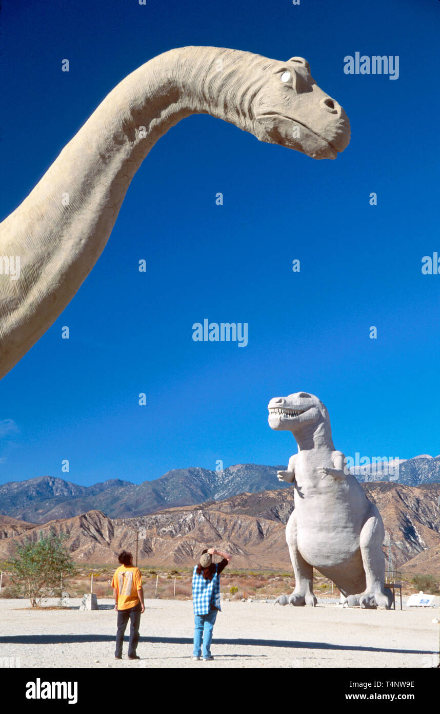 California Cabazon concrete dinosaurs gift shop in belly Wheel Inn Interstate exit - Stock Image
