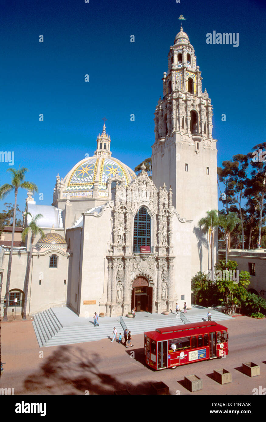 California San Diego Balboa Park built for Exposition Museum of Man passing tour trolley - Stock Image