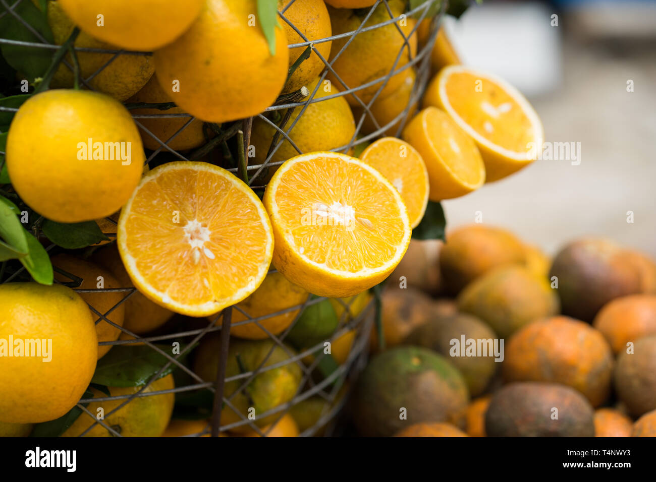 Tropical oranges hanging out and in basket. Focus on half cut orange - Stock Image