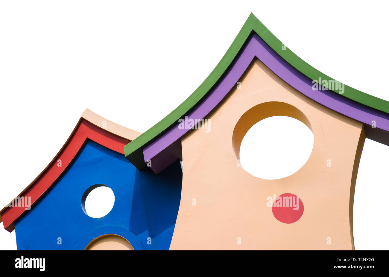 Closed up colorful children playhouse with roof isolated on white - Stock Image