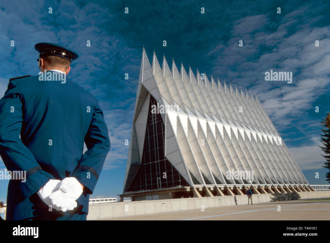 Colorado Colorado Springs US Air Force Academy Chapel foot spires all faiths cadet on left - Stock Image
