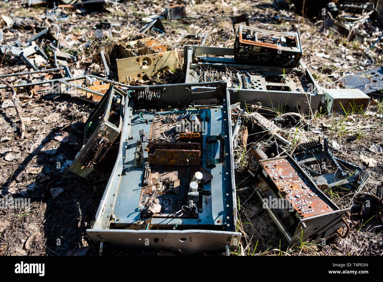 Abandoned circuit boards and computer components at the site of the Duga-1 array within the Chernobyl Exclusion Zone, Ukraine. The Duga radar was a so - Stock Image