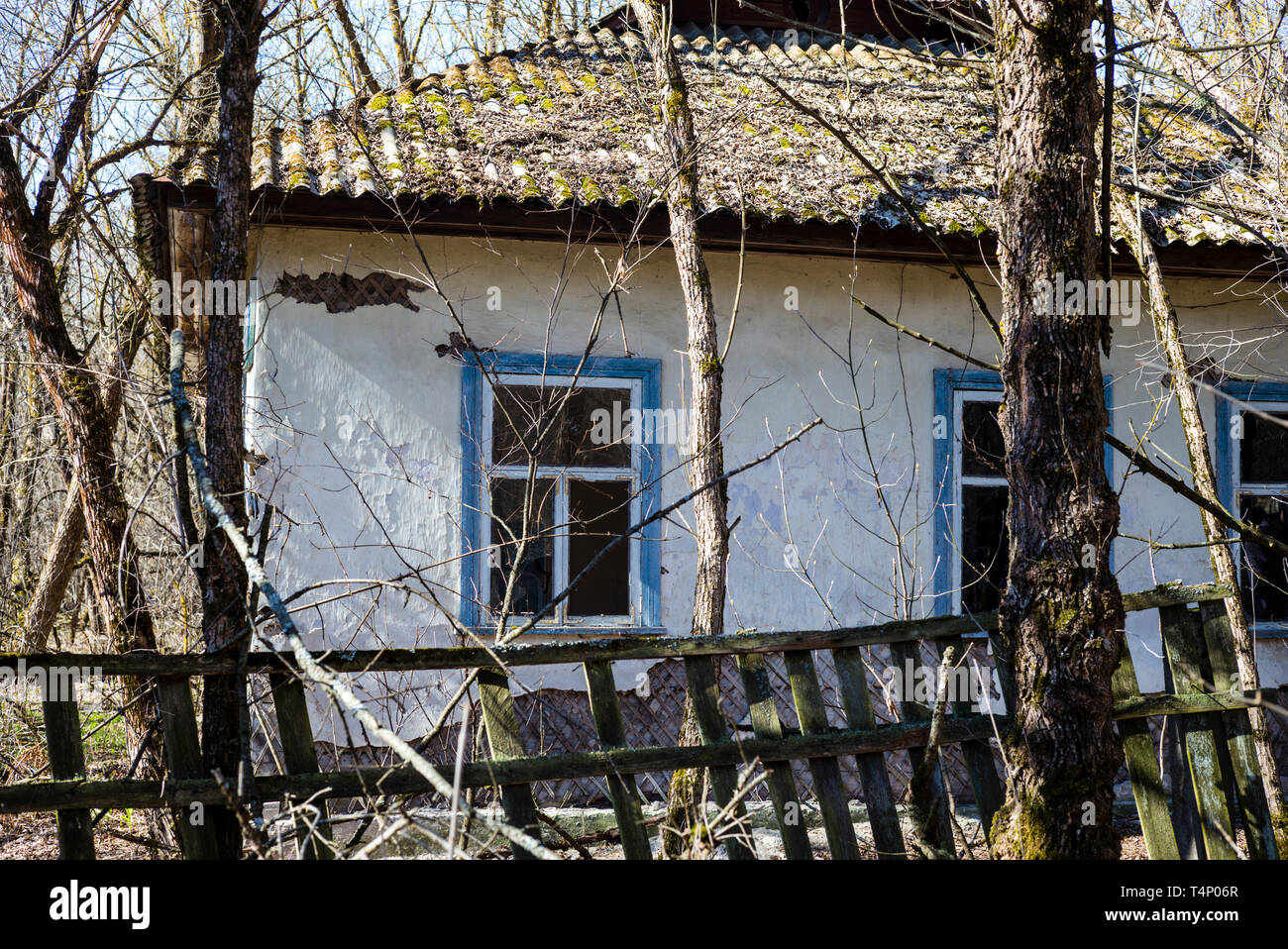 Abandoned village house in the village of Zalyssia, inside the Chernobyl exclusion zone, Ukraine, April 2019 - Stock Image