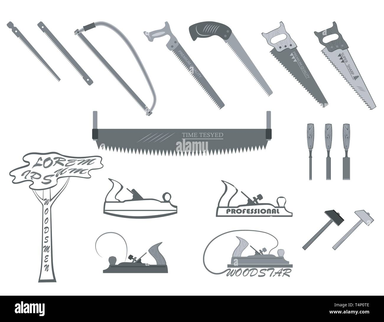 set of tools for working with wood. has a plane, hacksaw, hammers, chisels, and logs. Stock Vector