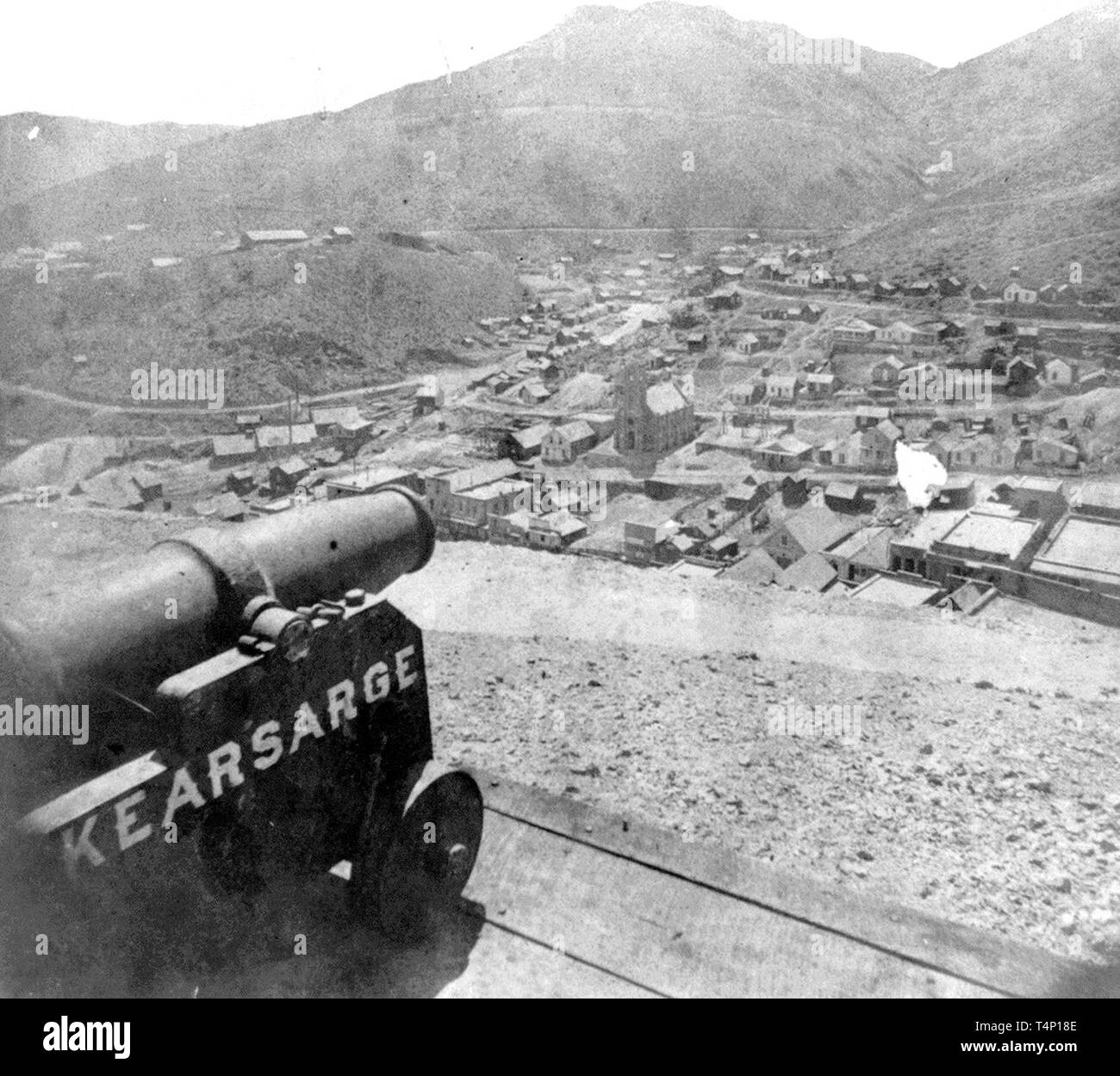 Nevada History - Gold Hill from Fort Homestead, Crown Point Ravine - Stock Image