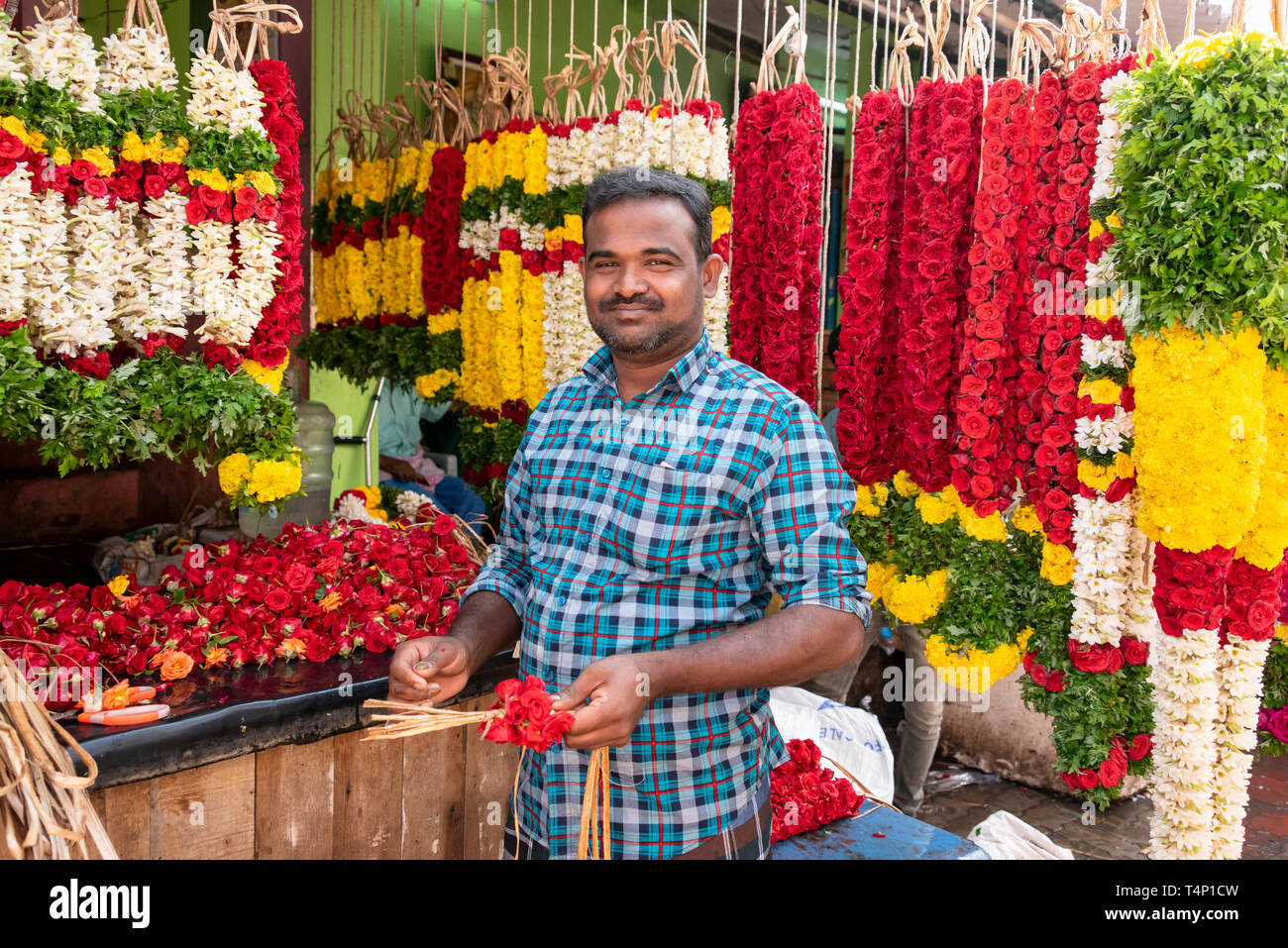 Horizontal view of a man making garlands at Mattuthavani flower market in Madurai, India. - Stock Image