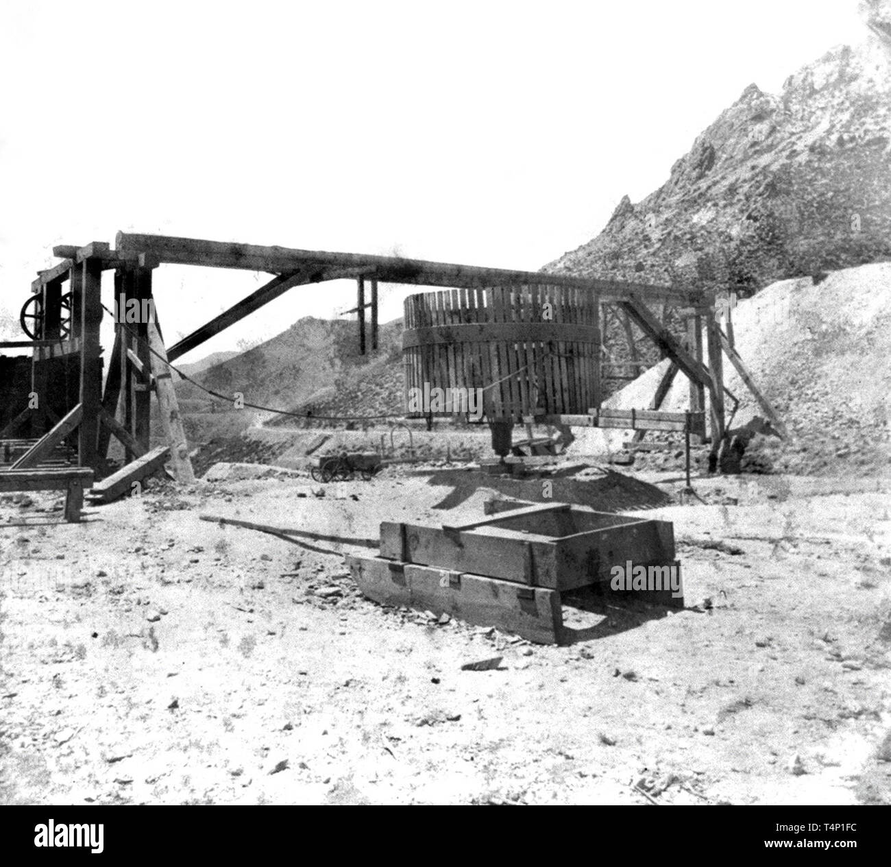Gold Mining History - Whim of the Four-Twenty Claim, Gold Hill ca. 1866 - Stock Image