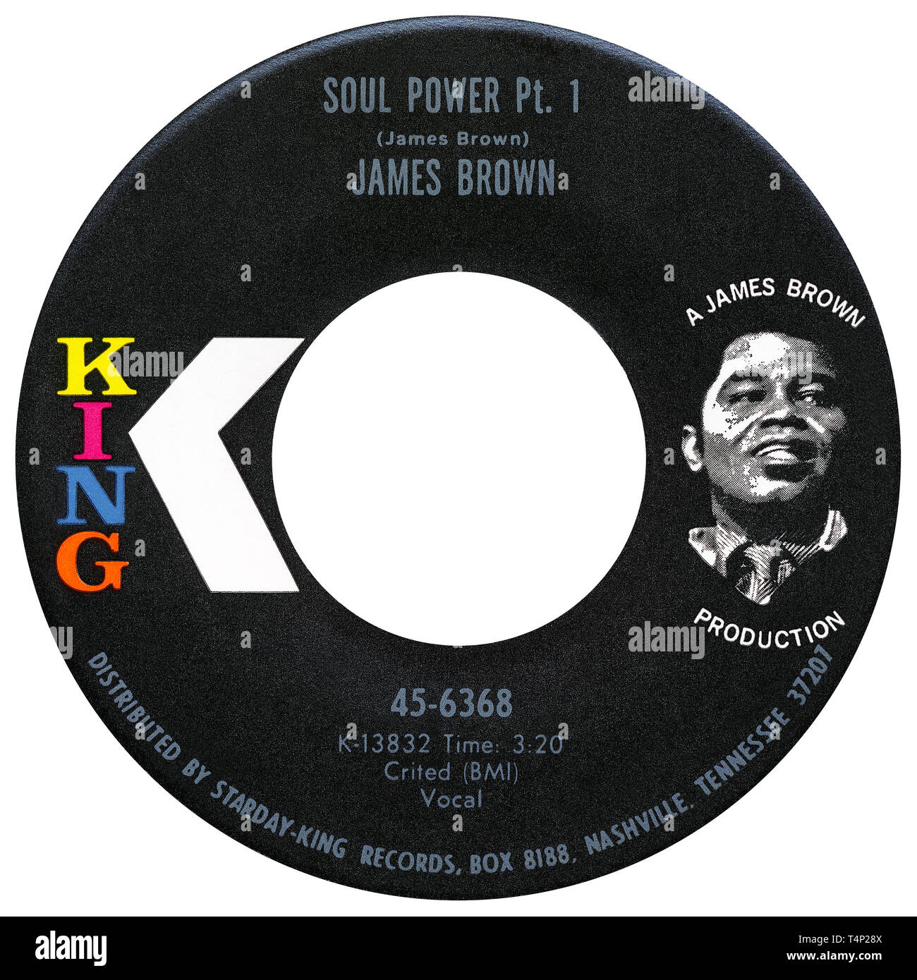US 45 rpm single of Soul Power by James Brown on the King label from 1971. Written and produced by James Brown. Stock Photo
