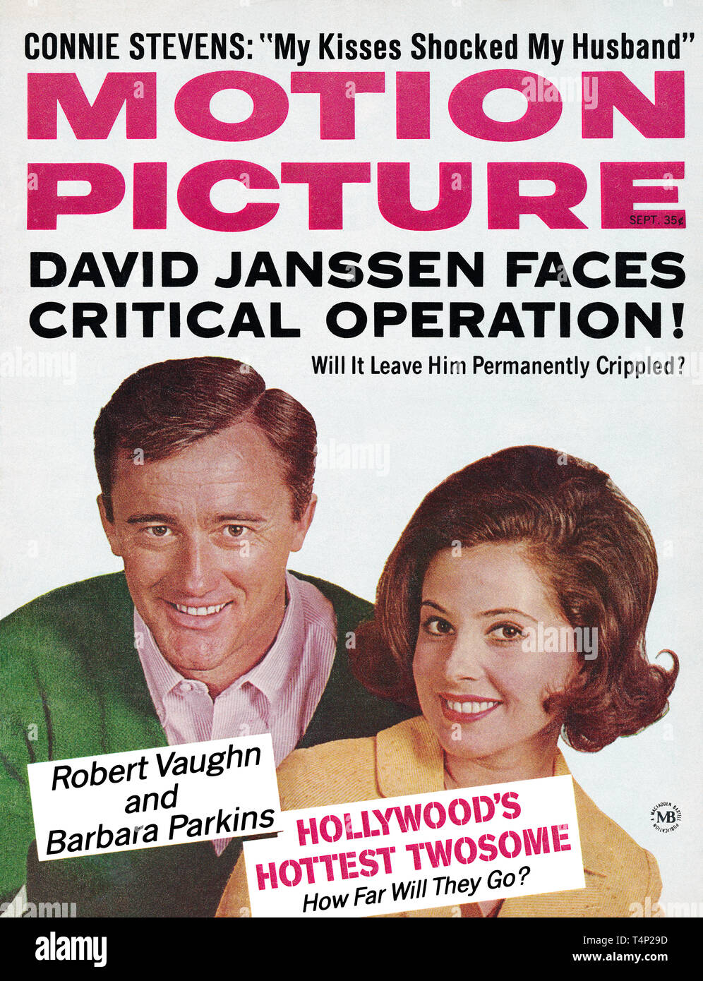 Vintage cover of Motion Picture magazine, September 1965. Robert Vaughn and Barbara Parkins are the cover stars. - Stock Image