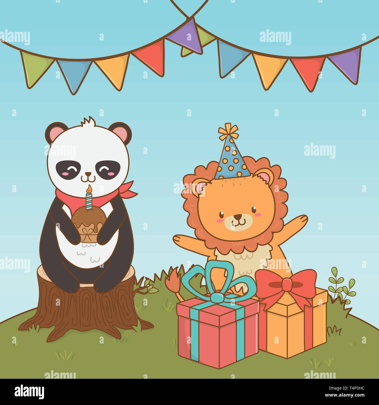 birthday card with cute animals woodland vector illustration design Stock Vector