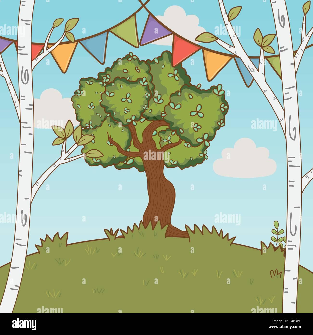 festive party outdoor scene cartoon vector illustration graphic design vector illustration graphic design Stock Vector