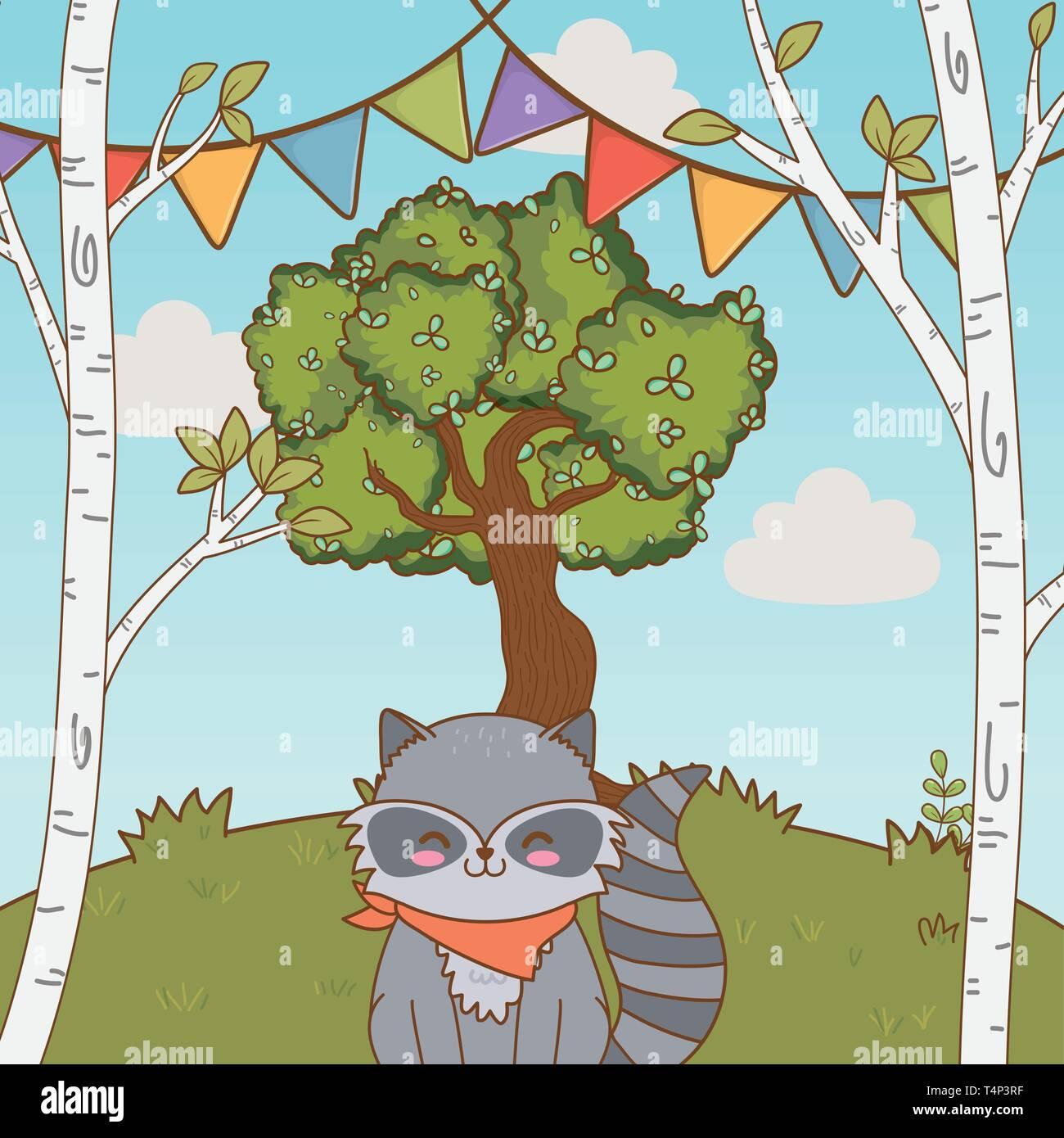 cute adorable animal raccoon birthday party outdoor scene festive cartoon vector illustration graphic design Stock Vector