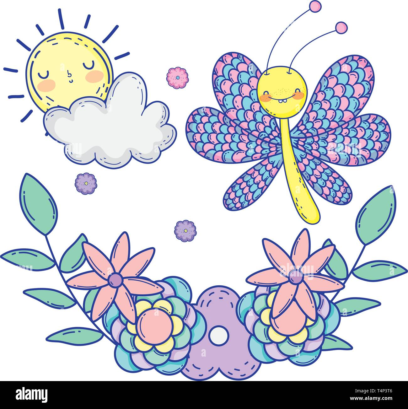 beautiful butterfly with floral decoration vector illustration design Stock Vector