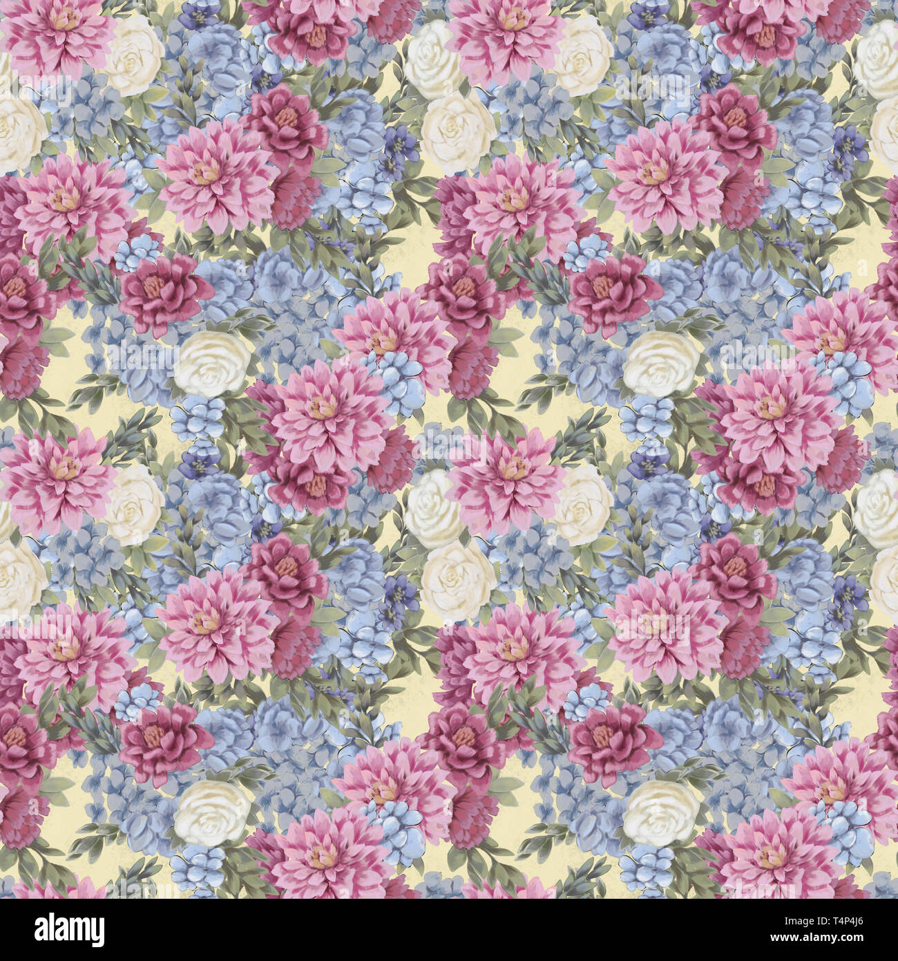 Watercolor Floral Seamless Pattern Greeting Card Template Or