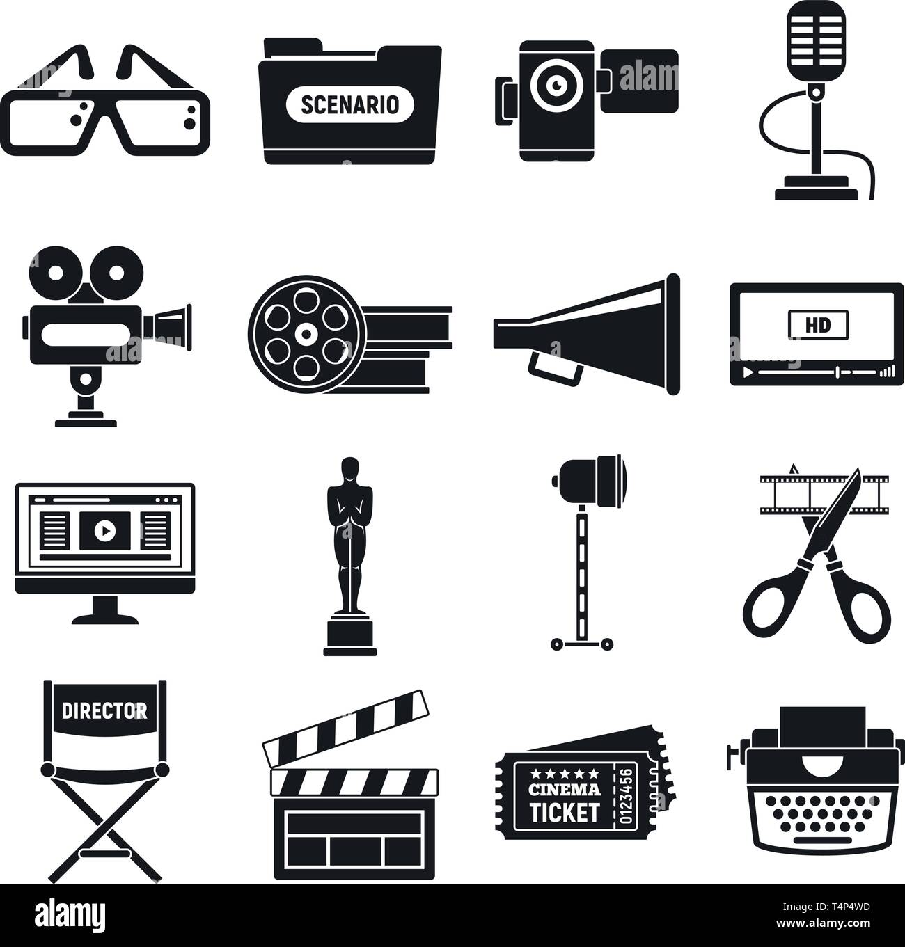 Video film production icons set. Simple set of video film production vector icons for web design on white background - Stock Image