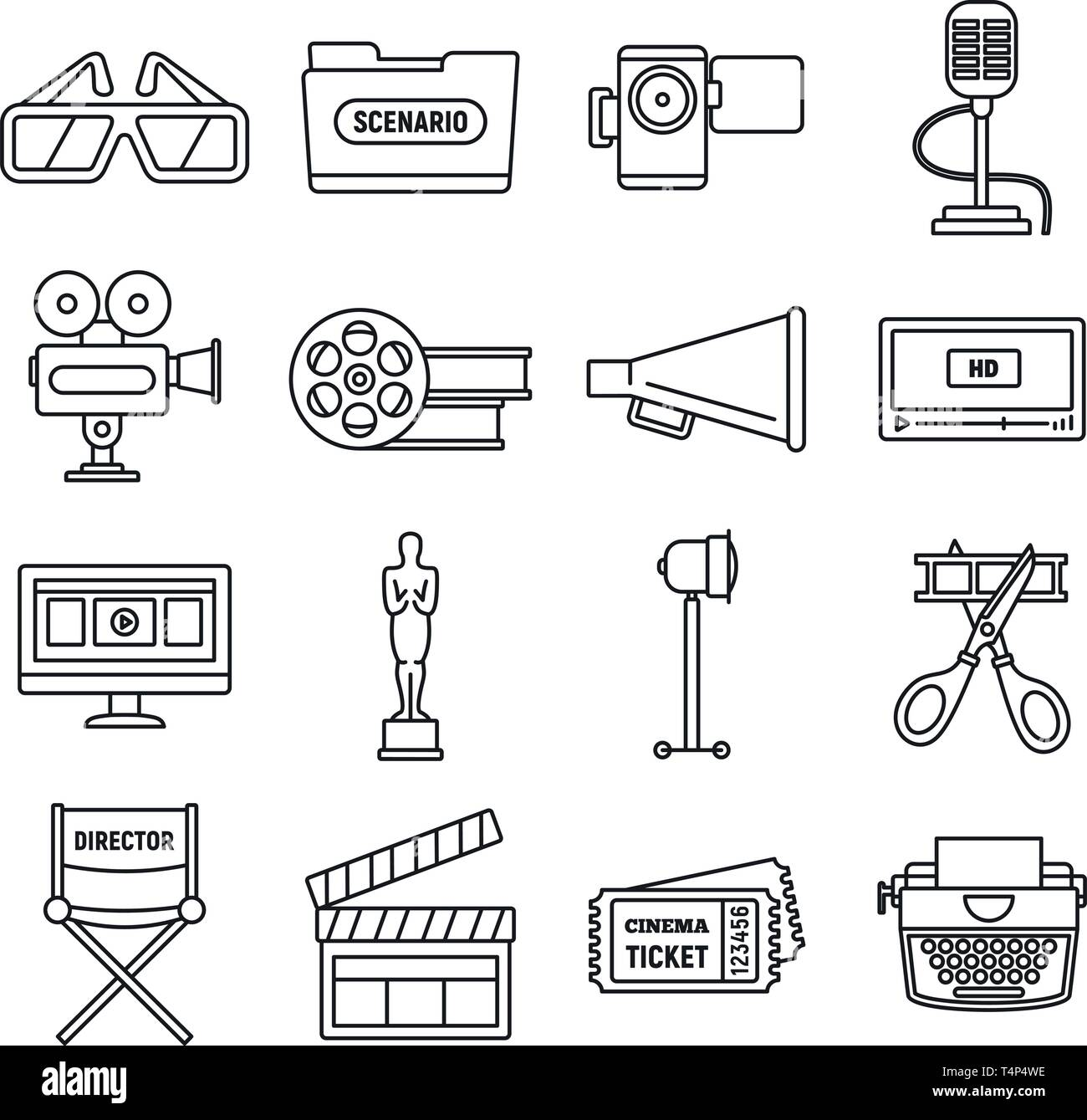 Modern film production icons set. Outline set of modern film production vector icons for web design isolated on white background - Stock Image