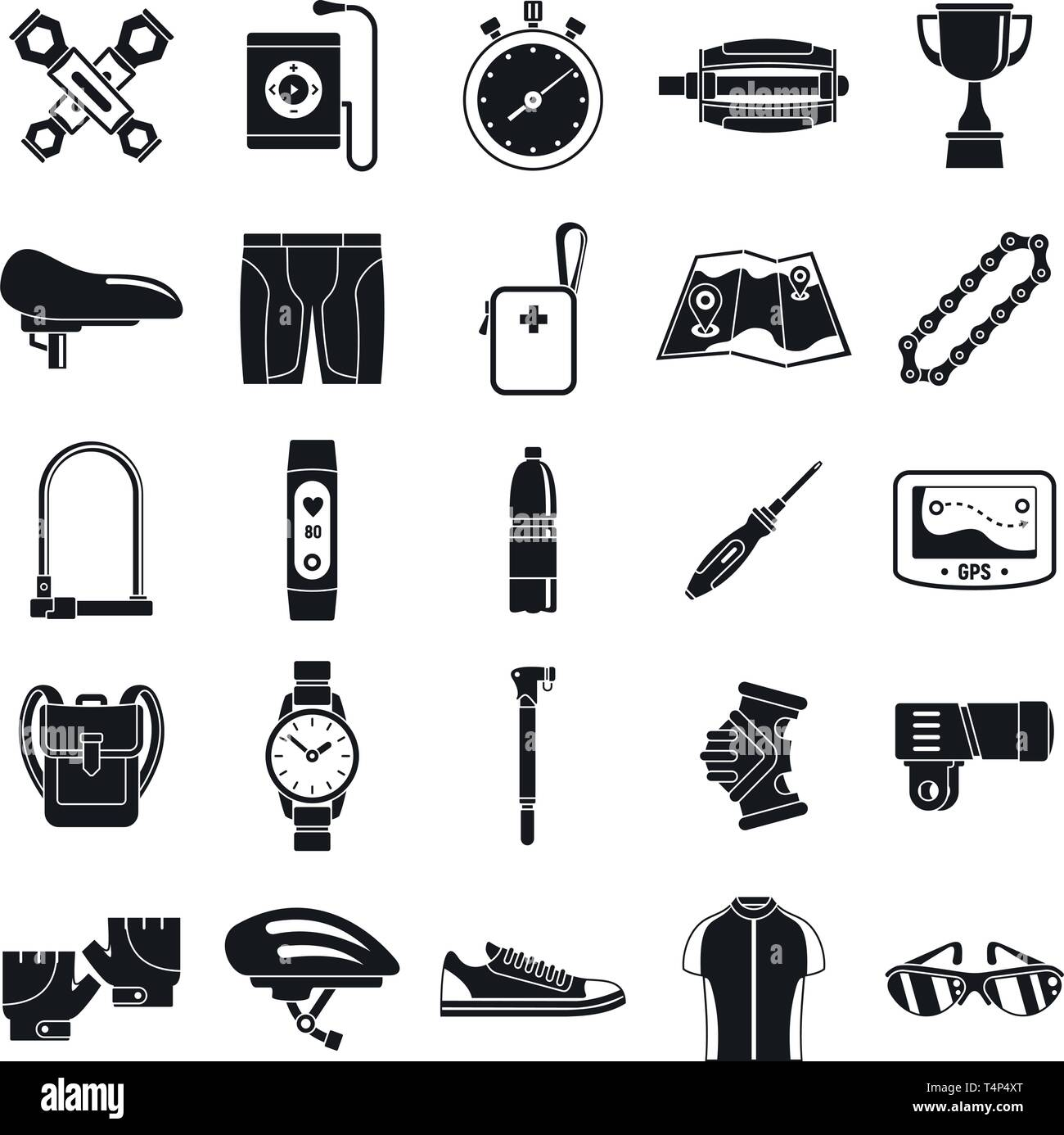 Modern cycling equipment icons set. Simple set of modern cycling equipment vector icons for web design on white background - Stock Vector