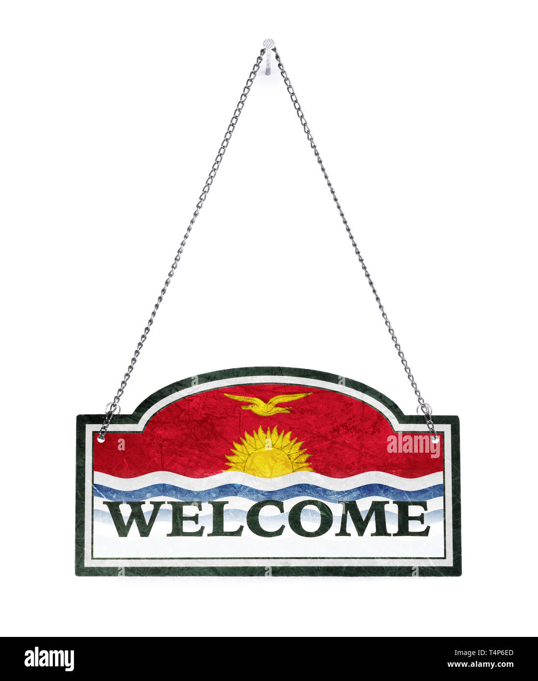Kiribati welcomes you! Old metal sign isolated on white - Stock Image